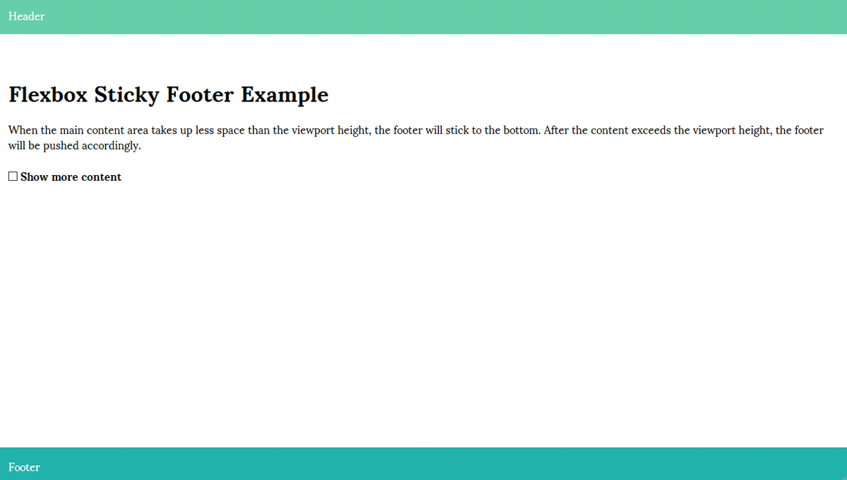 FLEXBOX STICKY FOOTER