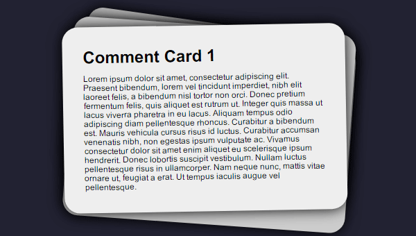 COMMENT CARD ANIMATION