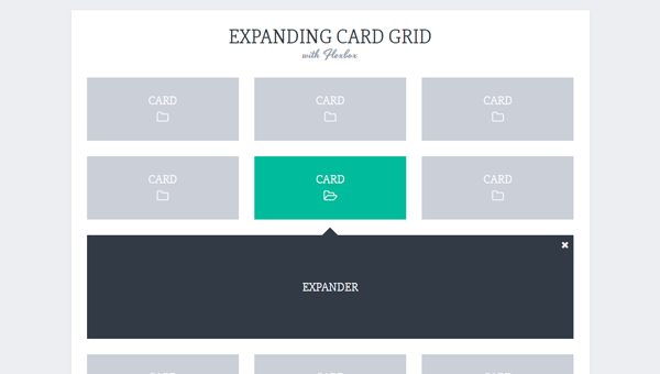 EXPANDING CARD GRID WITH FLEXBOX