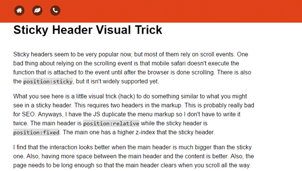 STICKY HEADER VISUAL TRICK