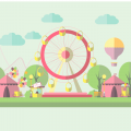 FLAT DESIGN AMUSEMENT PARK WITH CSS ANIMATION