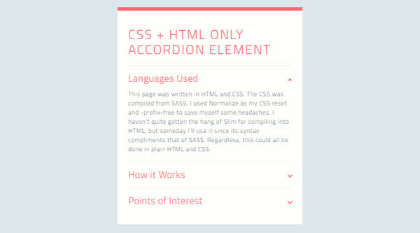 CSS + HTML ONLY ACCORDION ELEMENT