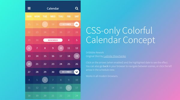 CSS-ONLY COLORFUL CALENDAR CONCEPT