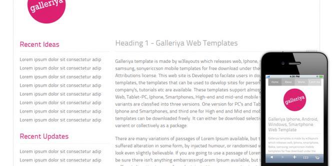 Galleriya – Free Protfolio Mobile Website Template