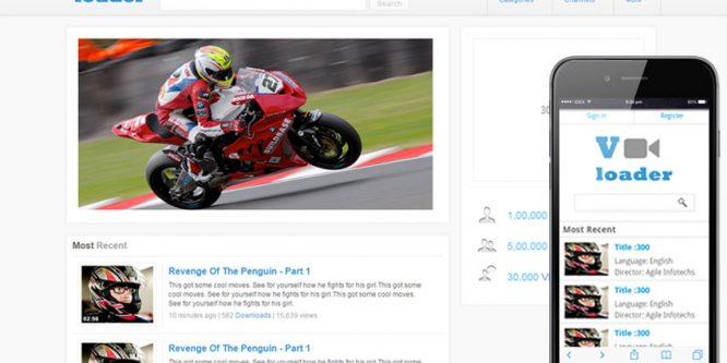 Vloader Free youtube like Mobile Website Template