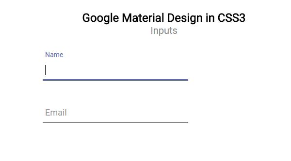 GOOGLE MATERIAL DESIGN INPUT BOXES