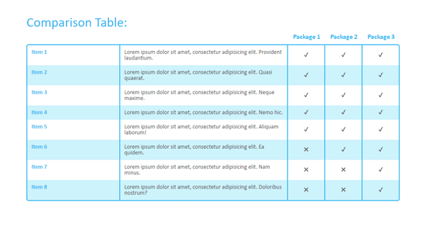 RESPONSIVE COMPARISON TABLE
