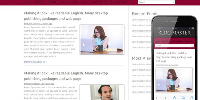 Blog Master blogging website template and mobile web template