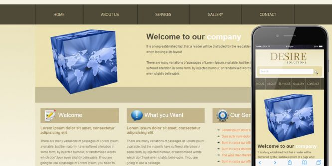 Desire Solutions web template and mobile website template