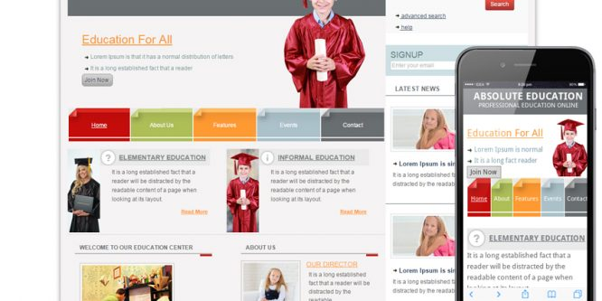 Education Web template and mobile website template for schools and colleges