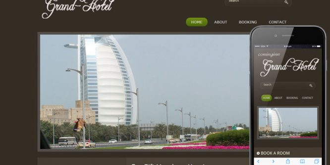 Grand Hotel web template and mobile website template for Hotels and restaurant