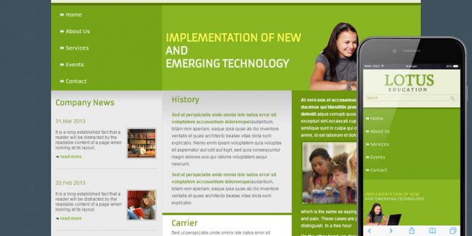 Lotus Education web template mobile website template for education centers