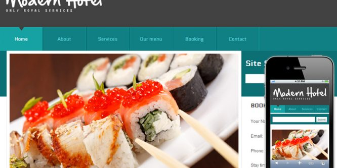 Modern Hotel Web template and mobile website template for hotels and restaurants