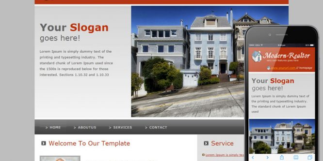 Modern Realtor website and mobile website for real estates agents