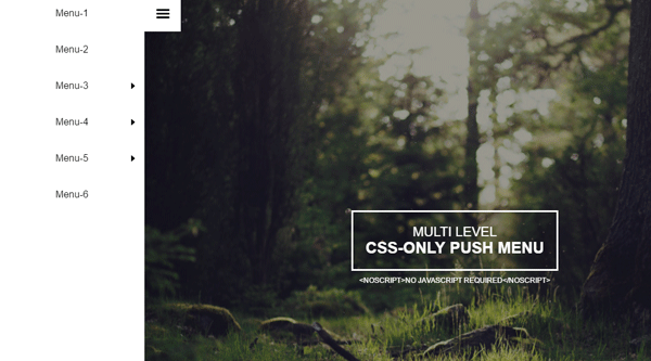 MULTI LEVEL CSS ONLY PUSH MENU