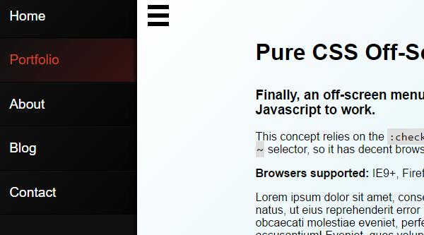 PURE CSS OFF-SCREEN NAVIGATION MENU