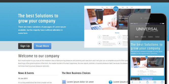 Universal web template and mobile website template for corporate companies