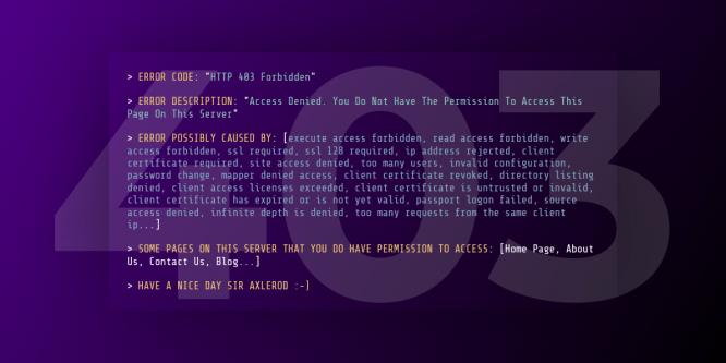 403 FORBIDDEN CONSOLE HTML THEME