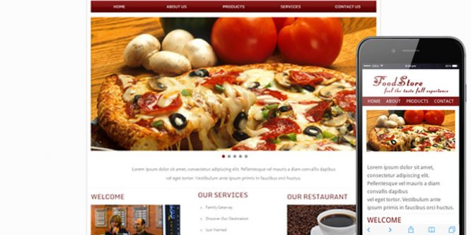 Food Store Web and Mobile website template