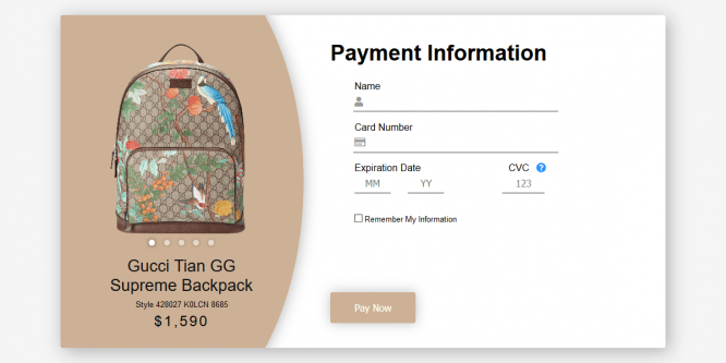 GUCCI BACKPACK CHECKOUT UI – CSS