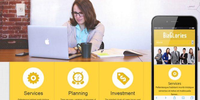 Biz Glories web and mobile website template