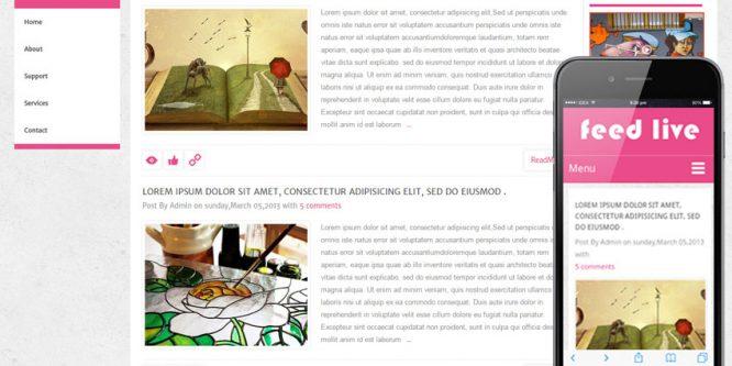 Feedlive Blogging Mobile Website Template
