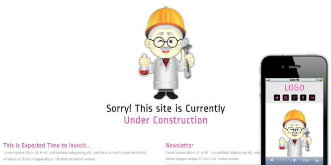 Professor Under Construction Mobile Website Template
