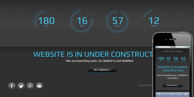 Speedo Under Construction Mobile Website Template