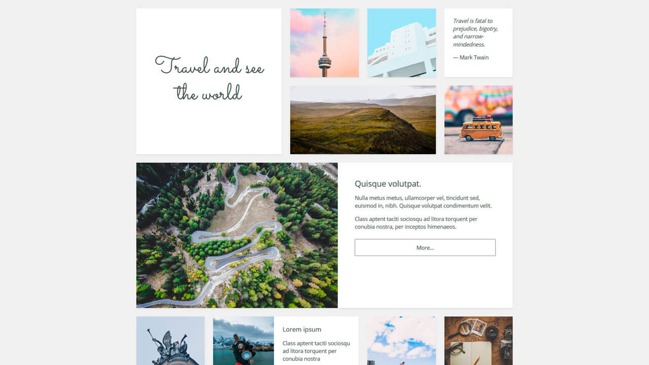 assorted cards and images css grid and bem