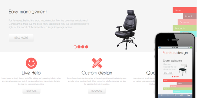 Furniture Design Mobile Website Template