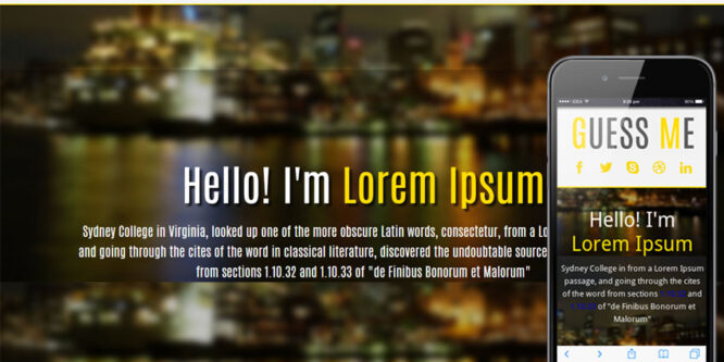 Guess Me personal portfolio web and Mobile Website Template