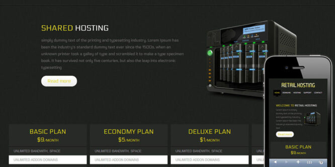 Retail Hosting Domain sales Mobile Website Template