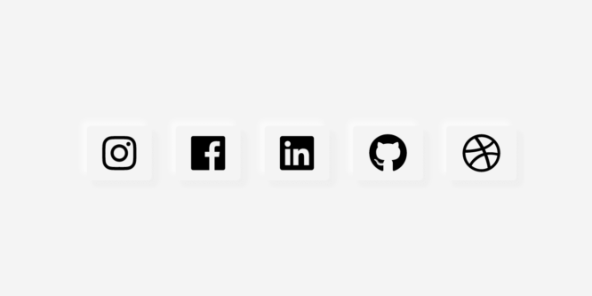 NEUMORPHISM – ANIMATED SOCIAL ICONS