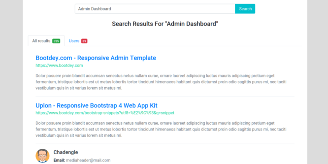 BOOTSTRAP 4 SEARCH RESULTS WITH USERS