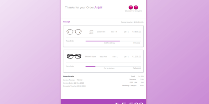 BOOTSTRAP 4 ECOMMERCE PRODUCT ORDER DETAILS WITH TRACKING