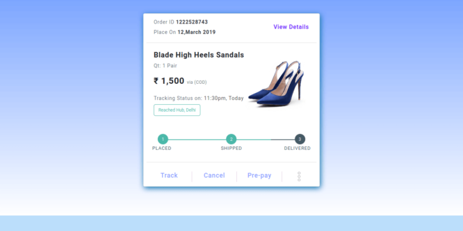 BOOTSTRAP 4 ORDER TRACKING DETAILS WITH PROGRESS BAR