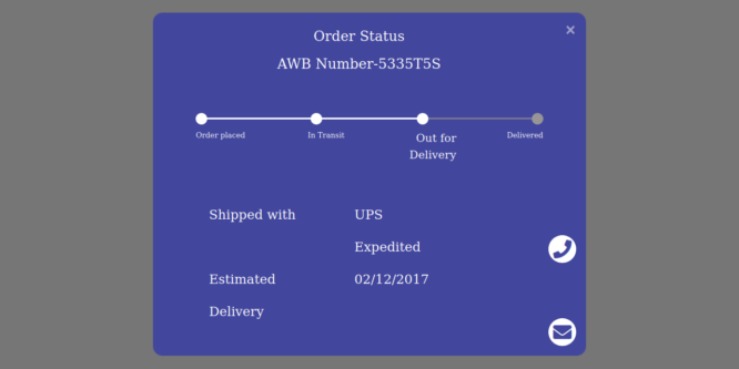 BOOTSTRAP 4 TRACK YOUR ORDER WITH PROGRESS BAR MODAL