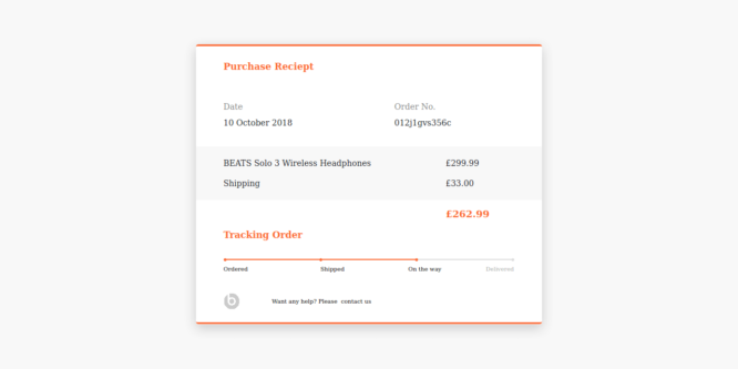 BOOTSTRAP 4 TRACKING ORDER PURCHASE RECEIPT WITH PROGRESS