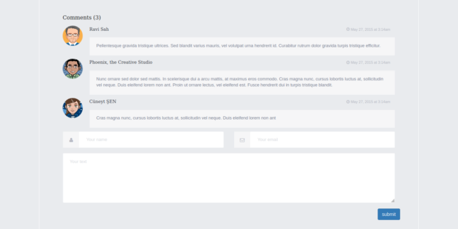 BOOTSTRAP BLOG COMMENTS WITH FORM