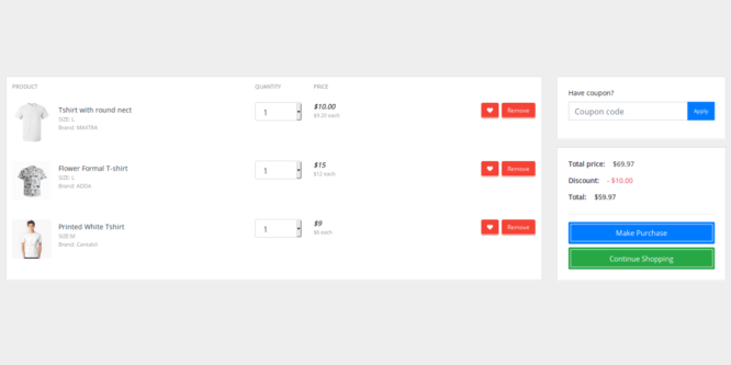 BOOTSTRAP 4 SIMPLE ECOMMERCE SHOPPING CART