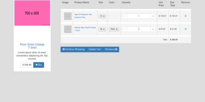 BOOTSTRAP SHOPPING CART TABLE