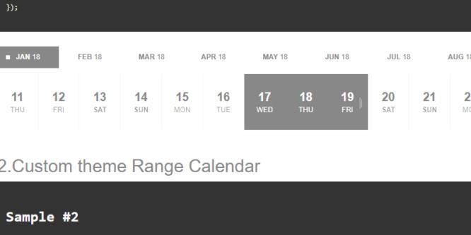 jQuery Range Calendar