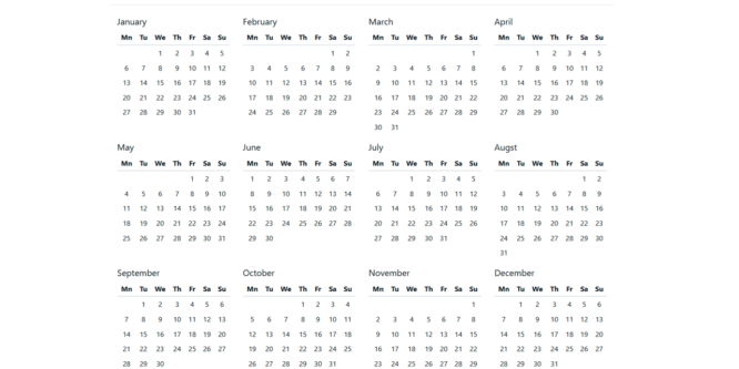 JQUERY AND BOOTSTRAP 3/4 YEAR CALENDAR