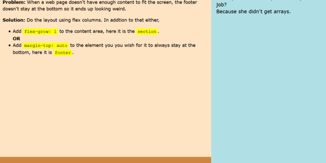 FOOTER ALWAYS AT THE BOTTOM – FLEXBOX